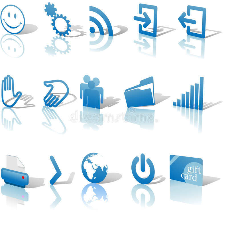 Web Blue Icons Relects Shadows Set 2 vector illustration