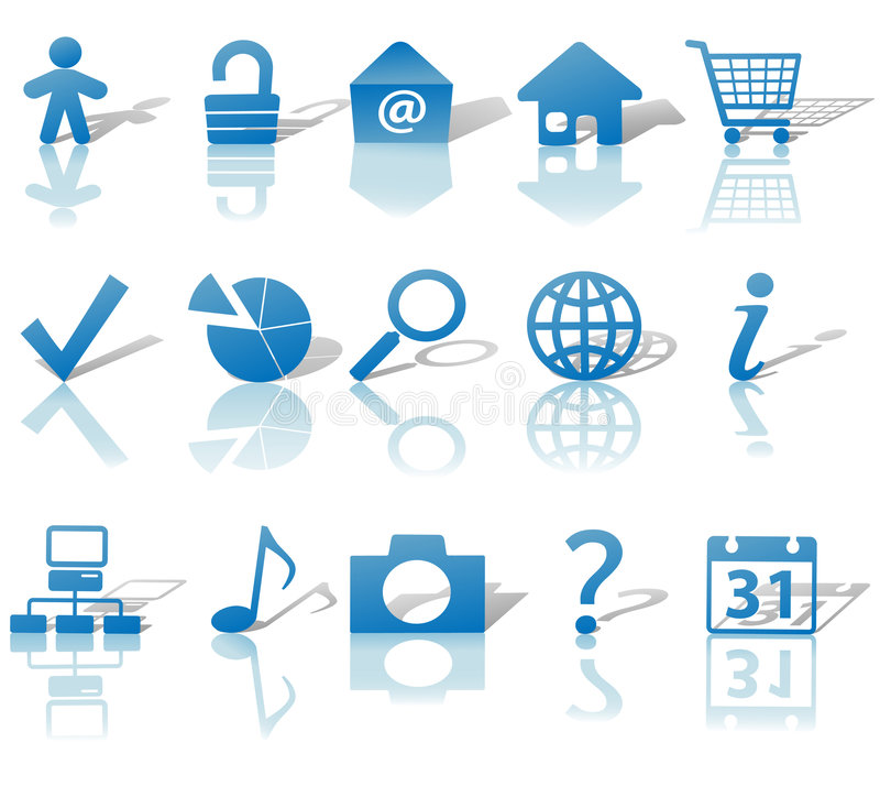Web Blue Icons Set Shadows & Relections on White stock illustration