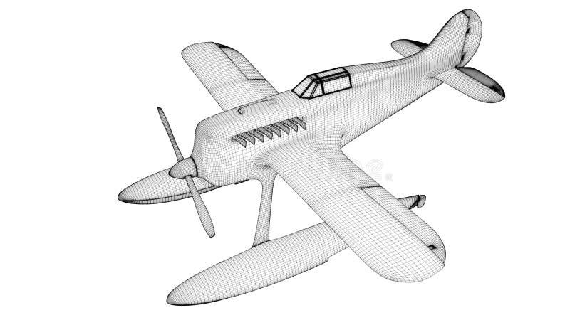 Web branca do hidroavião 3d rendem ilustração do vetor