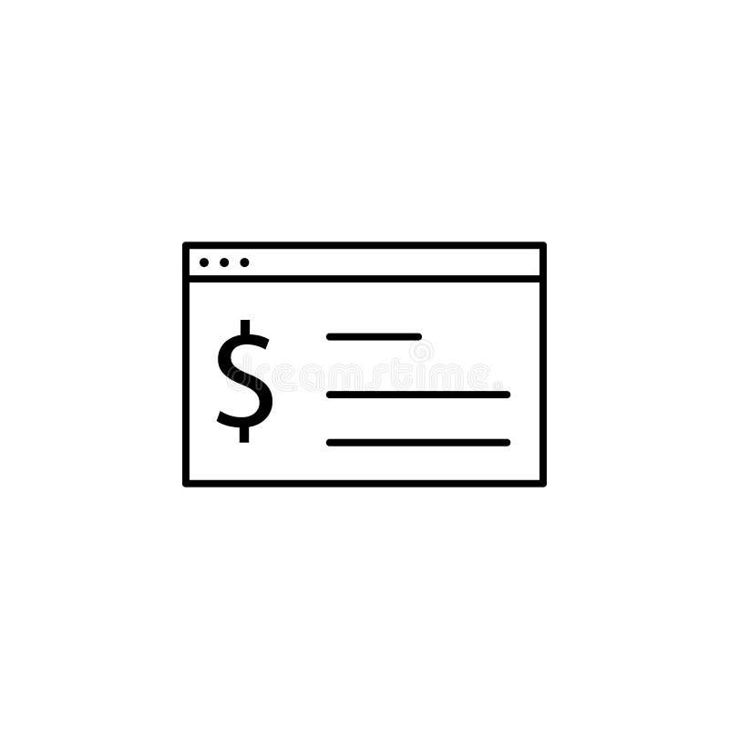Web browser, ícone do dólar Elemento da ilustração da finança Os sinais e o ícone dos símbolos podem ser usados para a Web, logot ilustração stock