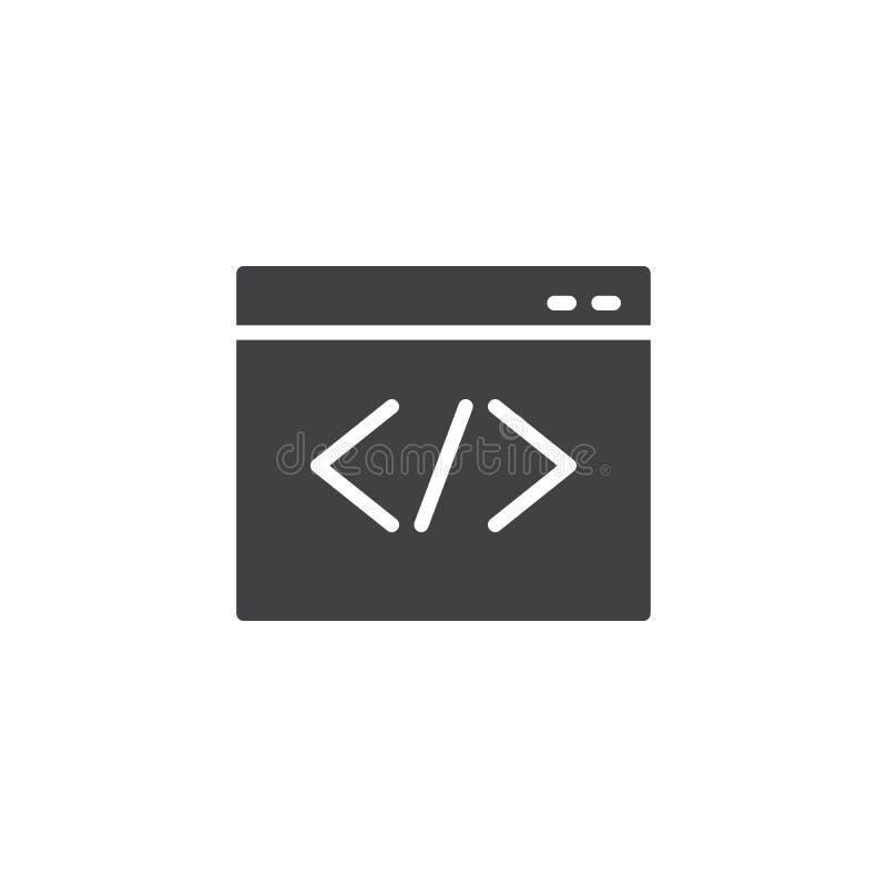 Web browser coding vector icon vector illustration
