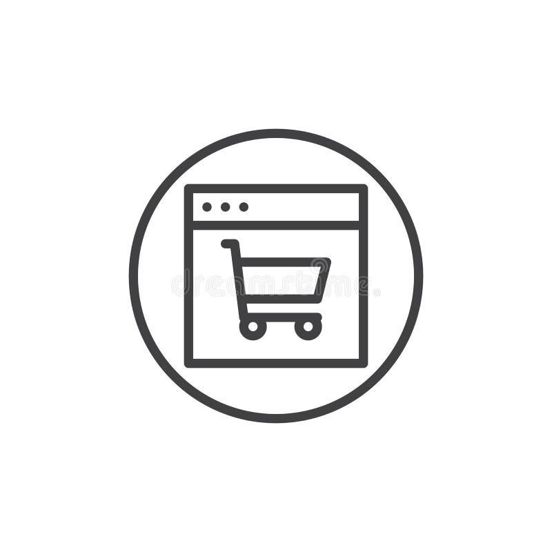 Web browser com linha ícone do carrinho de compras ilustração do vetor