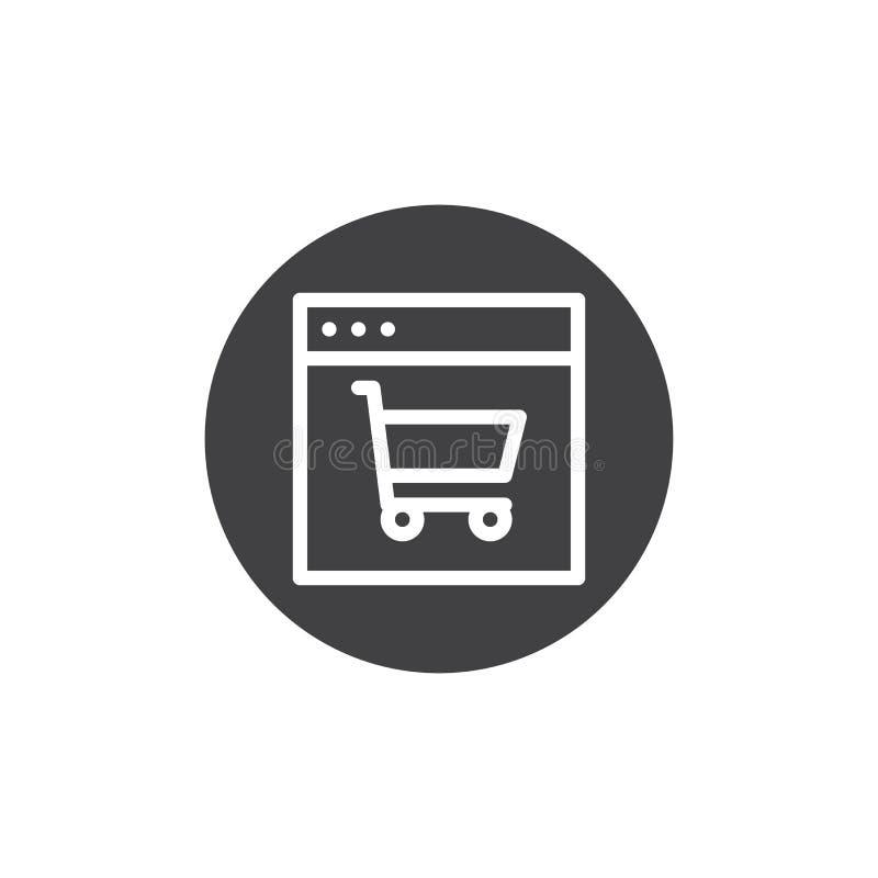 Web browser com vetor do ícone do carrinho de compras ilustração stock