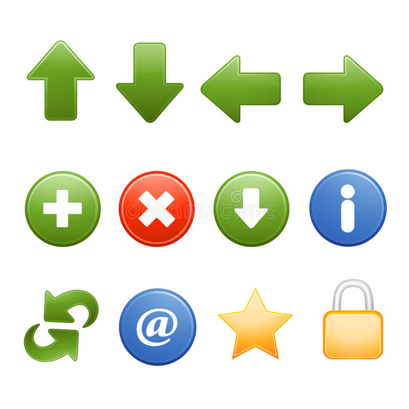 Web browser common icons stock illustration