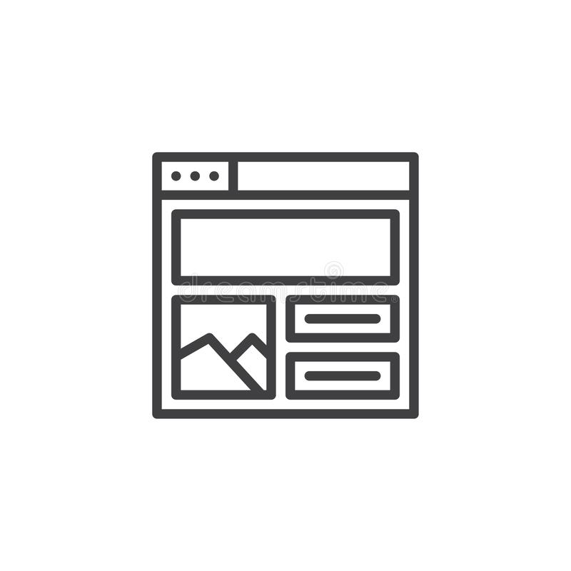Web browser with content design outline icon vector illustration