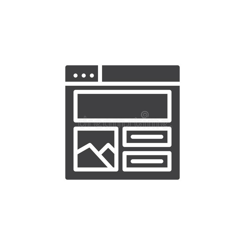 Web browser with content design vector icon stock illustration