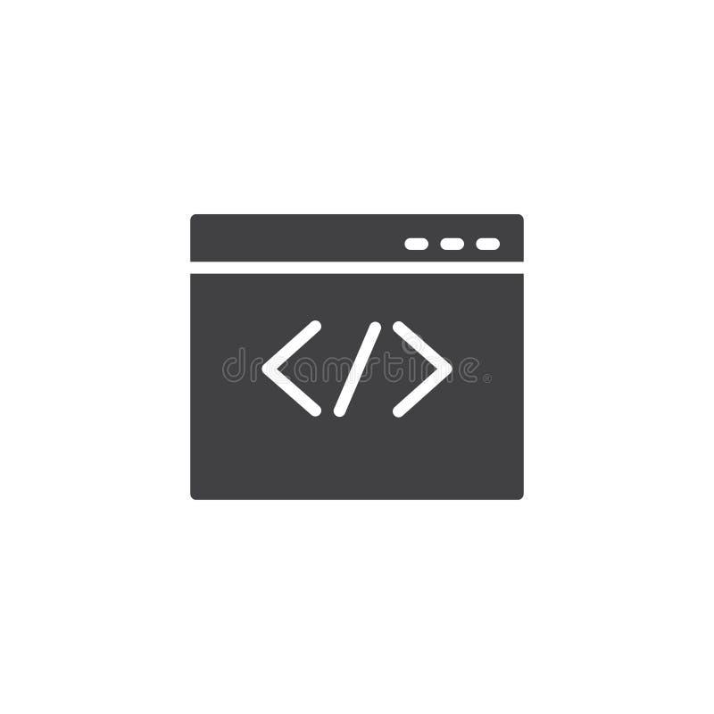 Web browser que codifica o ícone do vetor ilustração stock
