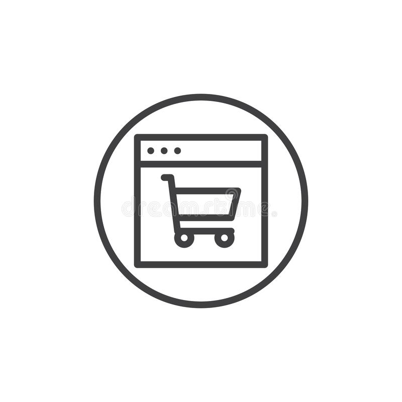 Web browser with shopping cart line icon vector illustration