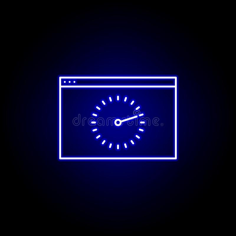 Web browser time clock wall icon in blue neon style.. Elements of time illustration icon. Signs, symbols can be used for web, logo. Mobile app, UI, UX on black royalty free illustration
