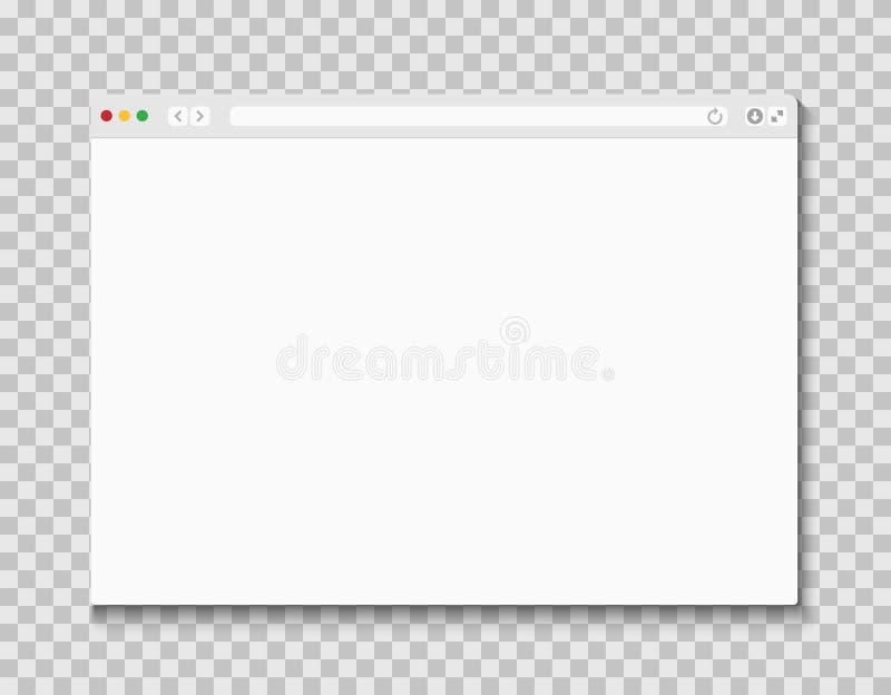 Web browser window. Computer or internet frame template design of flat page mockup. Blank screen web browser stock illustration