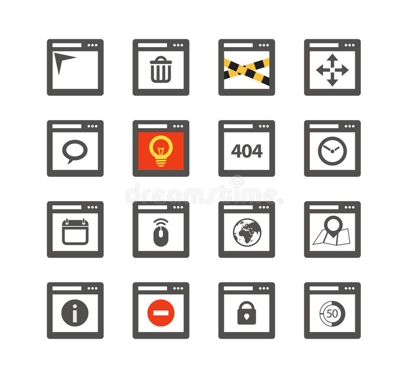 Web browser windows with icons