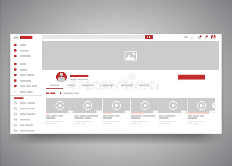 Web browser youtube video channel user interface page with search field and video list. Video player web site interface royalty free illustration