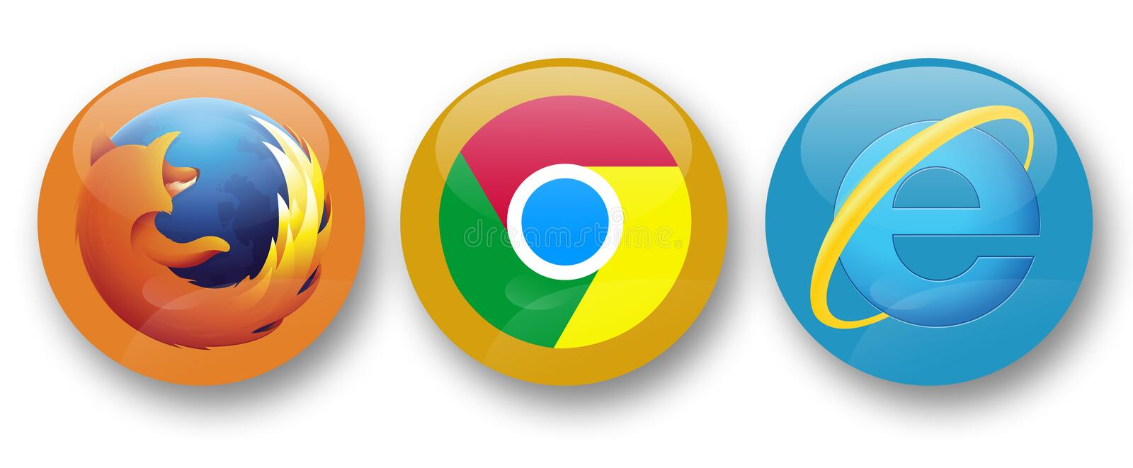 Web browsers. Firefox, chrome and internet explorer web browsers stock illustration
