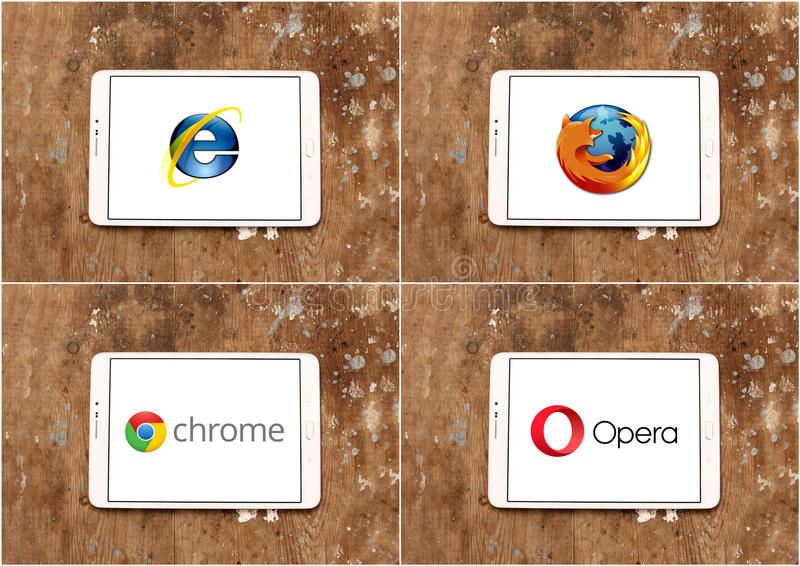 Web browsers brands and logos internet explorer , firefox , google chrome and opera royalty free stock photo