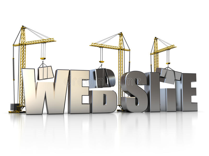 Web building. 3d illustration of website sign with building cranes