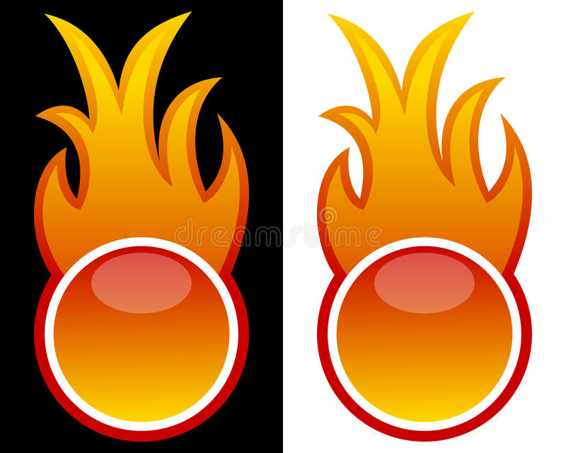 Web Button with Flames royalty free illustration