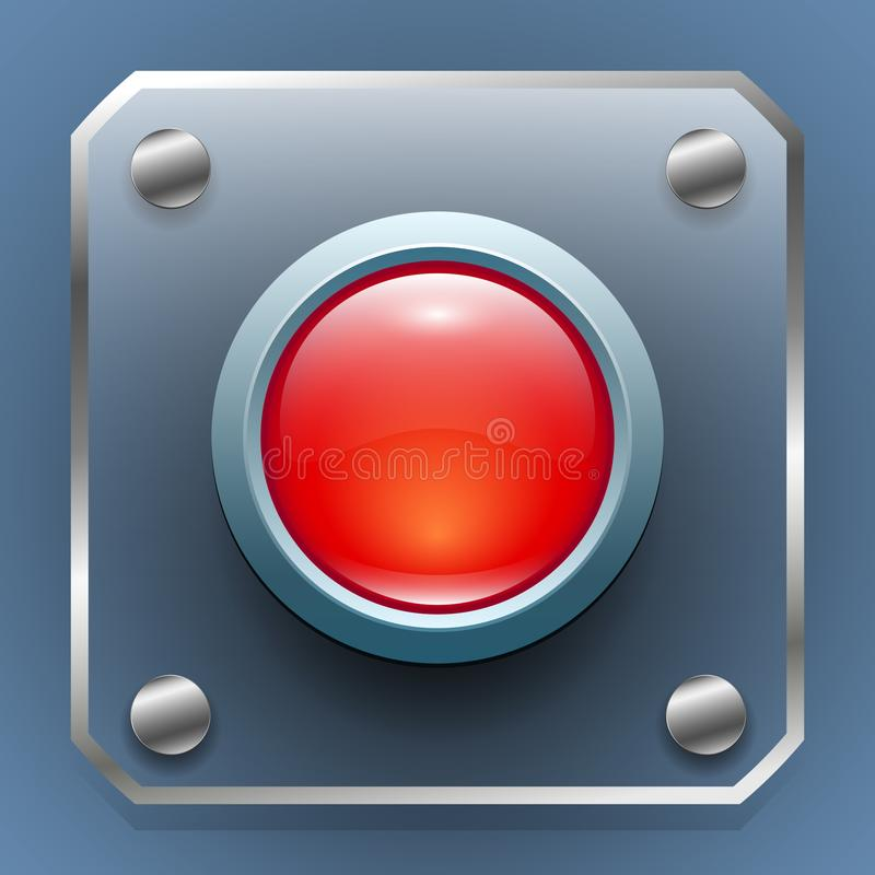 Web button. glass red button on a transparent panel with metal frame stock illustration
