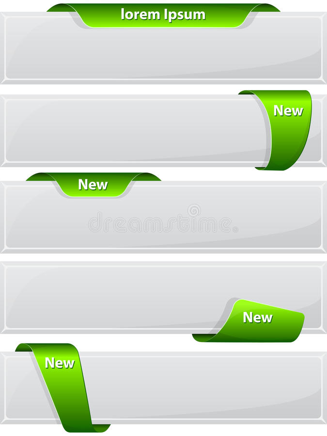 Web button with green ribbon vector illustration