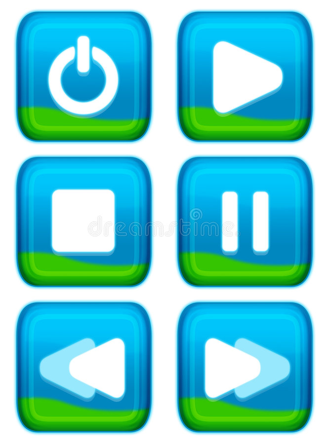Web button - player set. Eye appealing aqua style of web button - player series royalty free illustration