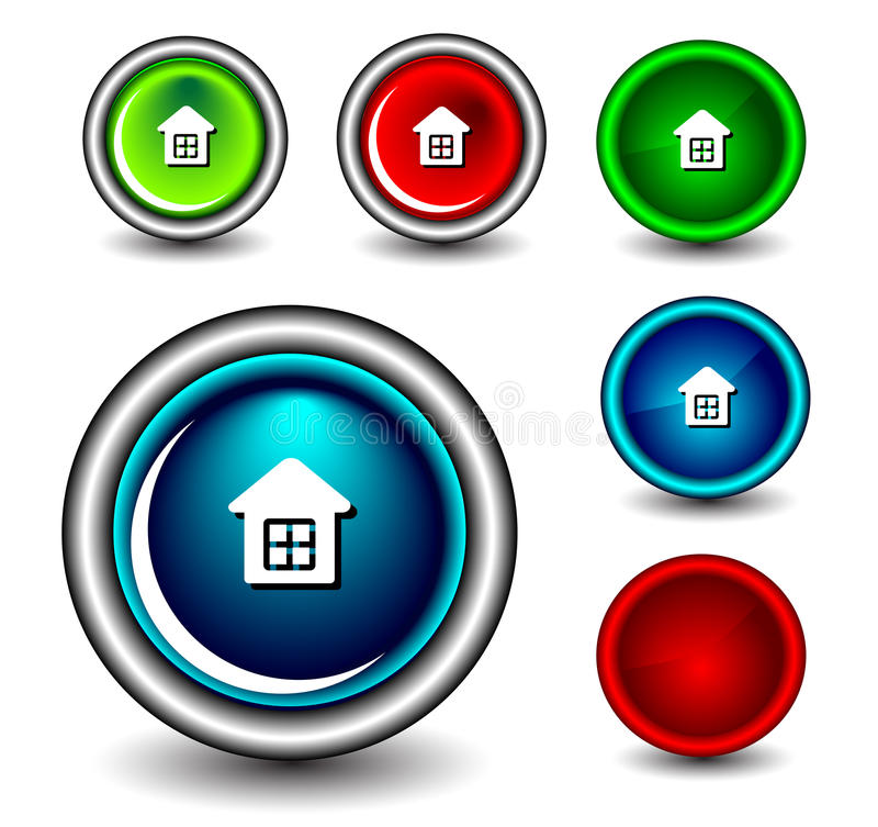 Web button. Set of Glossy web button icons on white stock illustration