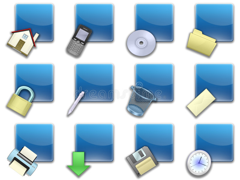 Download Web Button Squared Blue (02) Stock Illustration - Image: 7574929