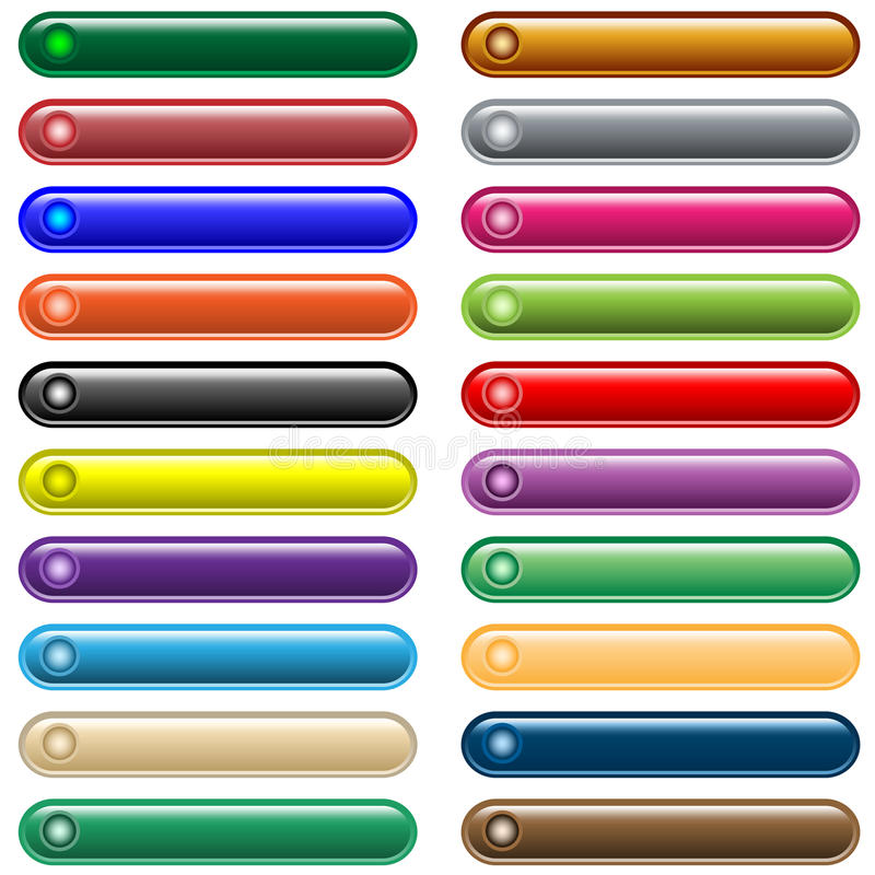 Web buttons 20 shiny assorted colors royalty free illustration