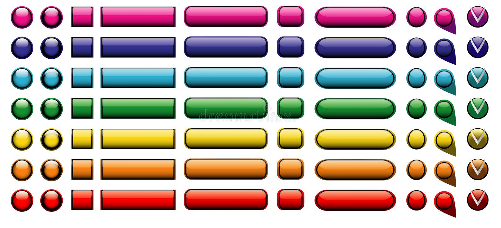 Web buttons. Illustration isolated several versions of several colors eps10 royalty free illustration