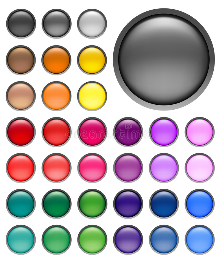 Web buttons. Round web buttons with different shiny colors
