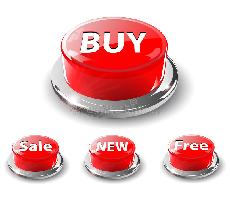 Free Web Buttons, 3d Red. Stock Photo - 13425260