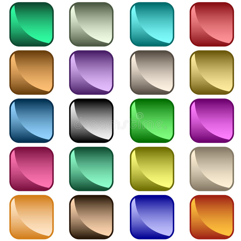 Web buttons assorted colors vector illustration
