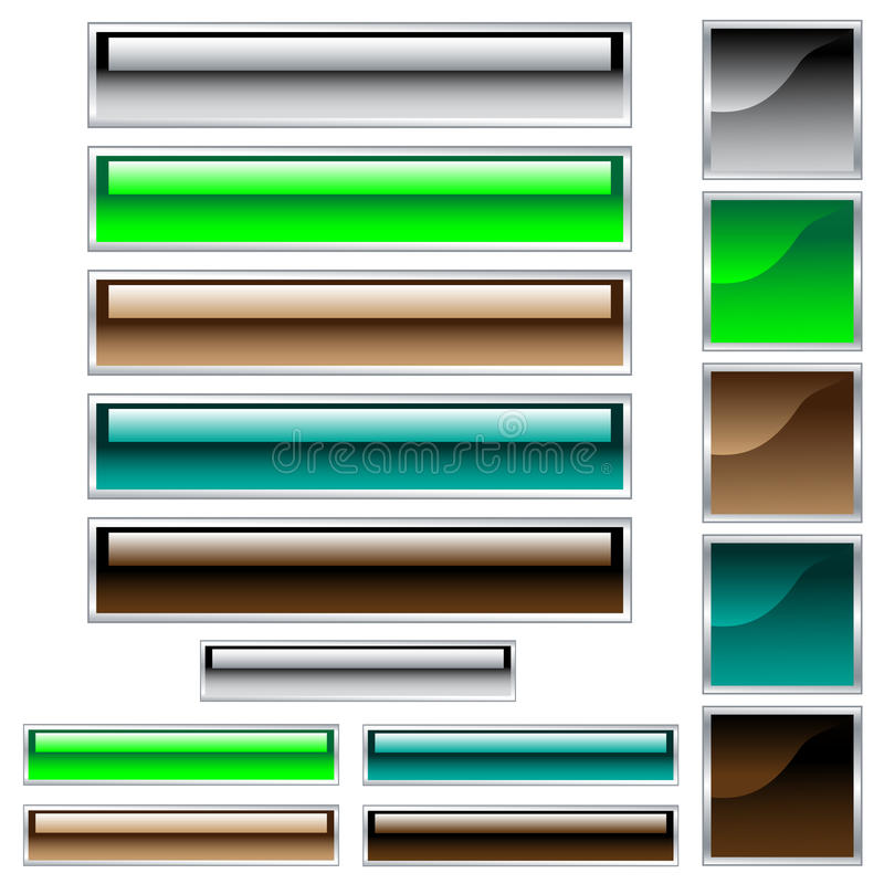 Web buttons in assorted glossy colors stock illustration