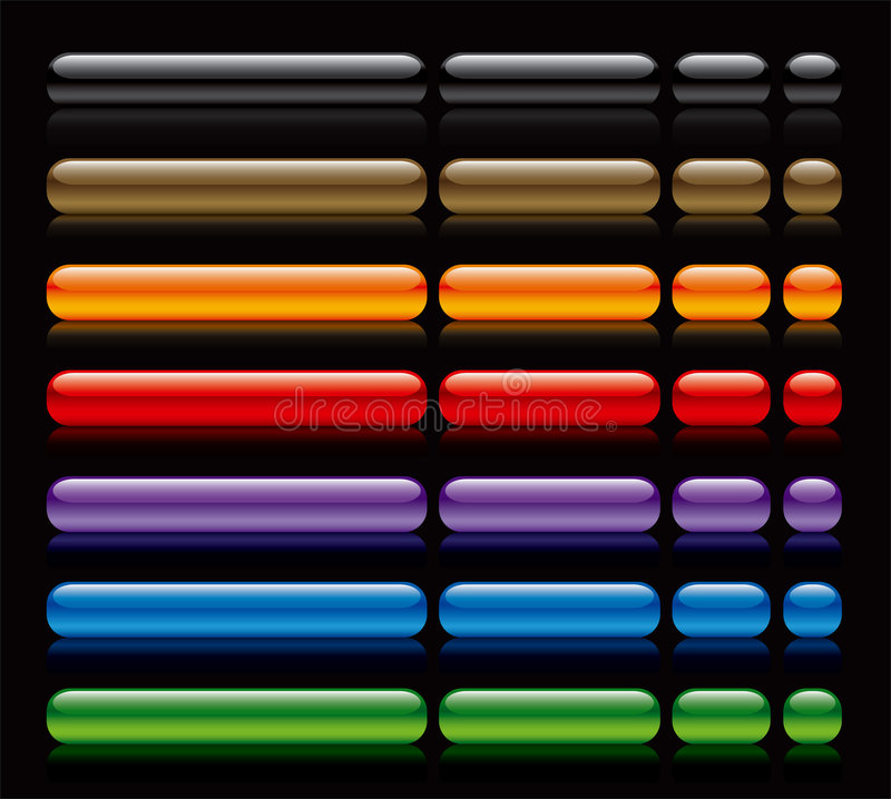 Web buttons on black. Beautiful colorful and fresh glossy web buttons on black background