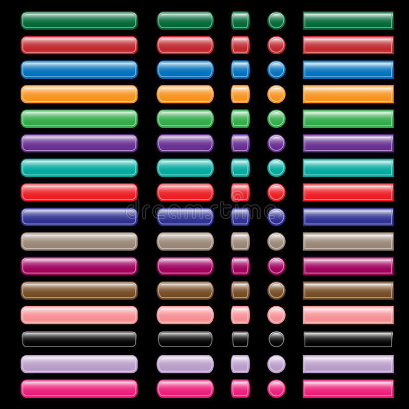 Web buttons collection in assorted colors vector illustration