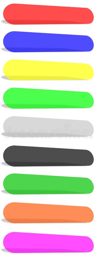 Web buttons different colors. Web buttons of multiple different colors with shadow and without text vector illustration