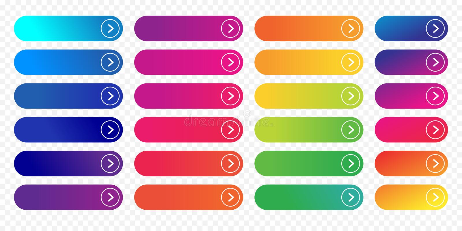 Web button flat design template next icon color gradient outline vector. Web buttons flat design template with color gradient and thin line outline style. Vector royalty free illustration