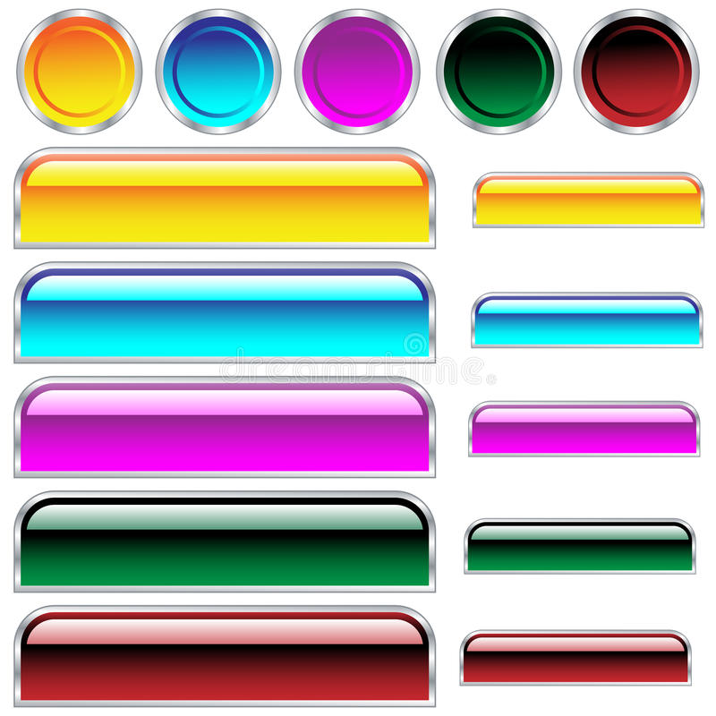 Download Web Buttons Glossy Assorted Colors And Shapes Stock Vector - Illustration: 12089272