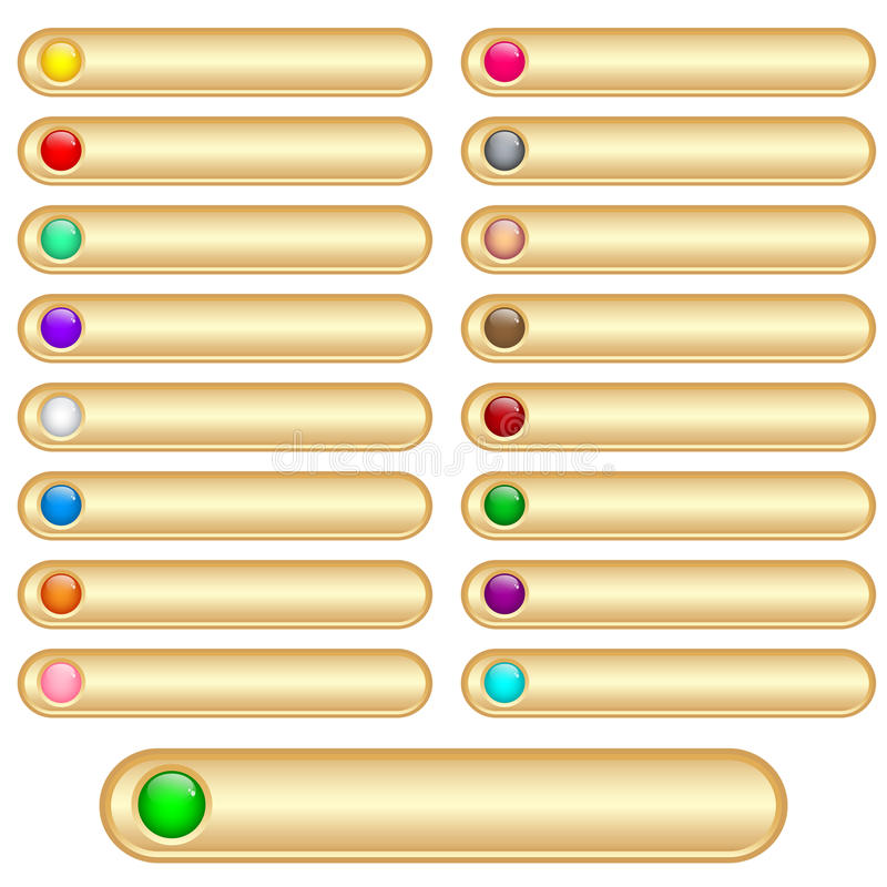 Download Web buttons gold stock vector. Image of isolated, assorted - 14728525
