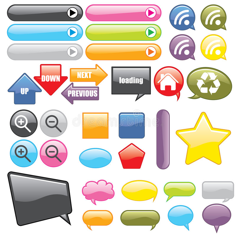 Web Buttons and Icons vector illustration