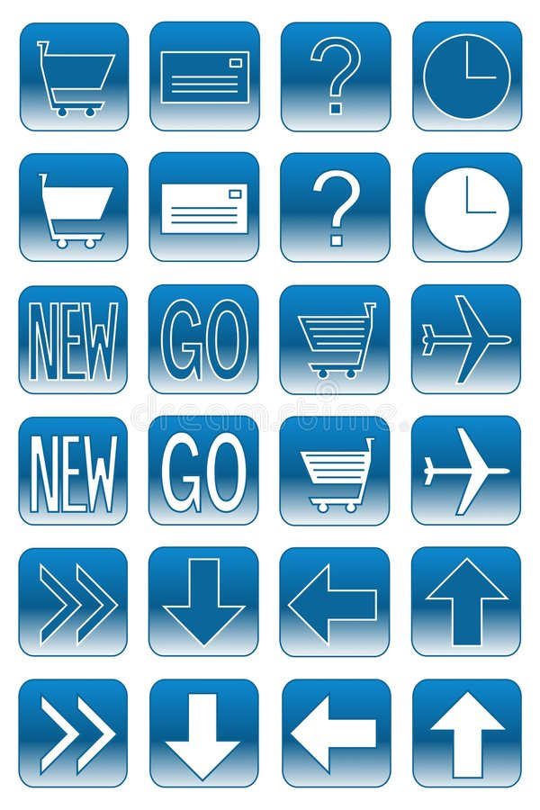 Web buttons: light blue 2 stock illustration