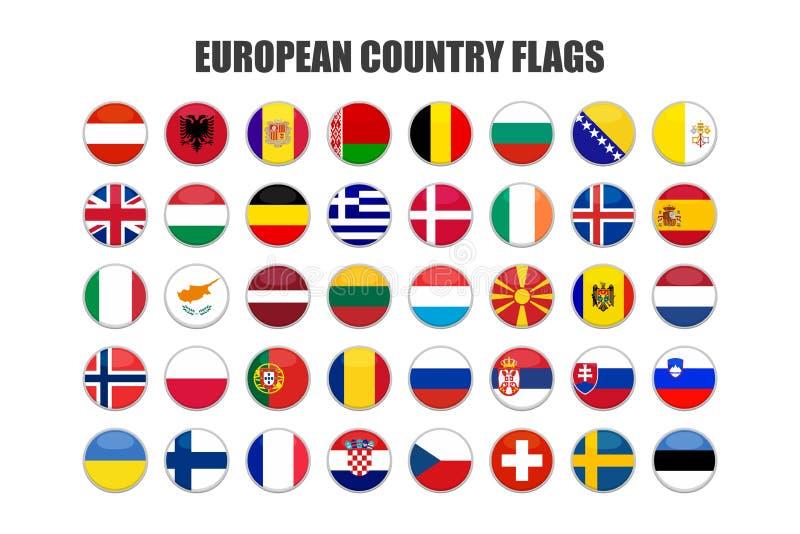 Web-Buttons mit europäischen Landesflaggen, flach vektor abbildung