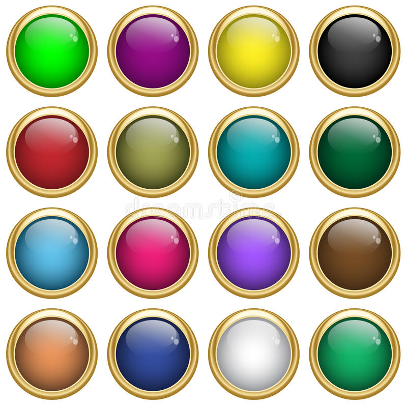 Web buttons round in gold vector illustration