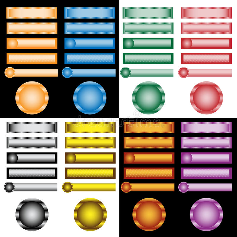 Web buttons set in assorted colors and designs royalty free illustration
