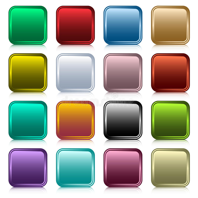 Download Web buttons square set stock vector. Image of collection - 18353896