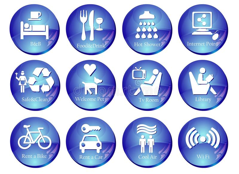 Web Buttons with Travel Icons stock images