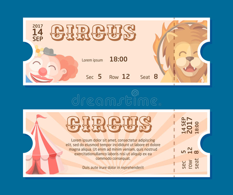 Circus show entrance tickets template.Colorful horizontal vector pass in cartoon flat style with trained lion, clown, circus tent royalty free illustration
