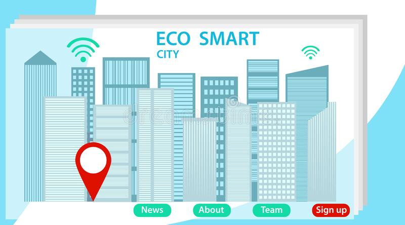 Web city smart eco system for engineers. Landing page with downtown buildings and streets, map pins and place for text stock illustration