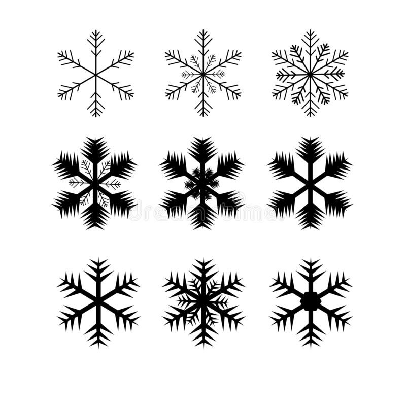 web Coleção bonito dos flocos de neve isolada no fundo do ouro A linha lisa ícones da neve, neve lasca-se silhueta Elemento agrad ilustração royalty free