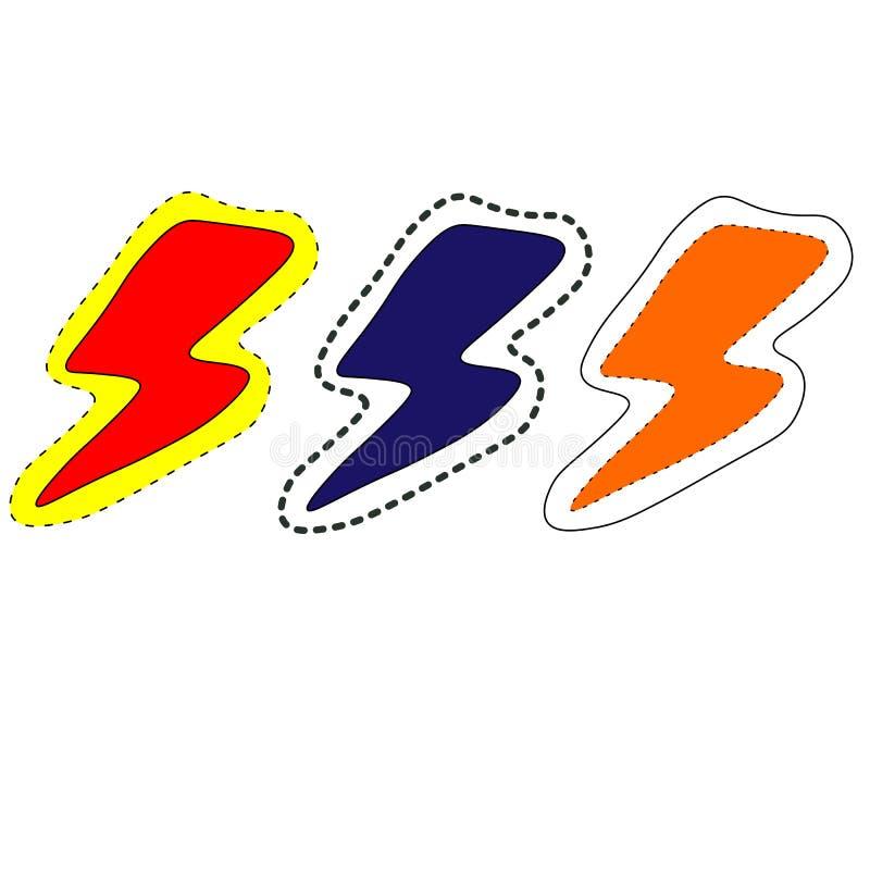 web cole??o do projeto da cor do rel?mpago, molde do vetor do logotipo ilustração stock