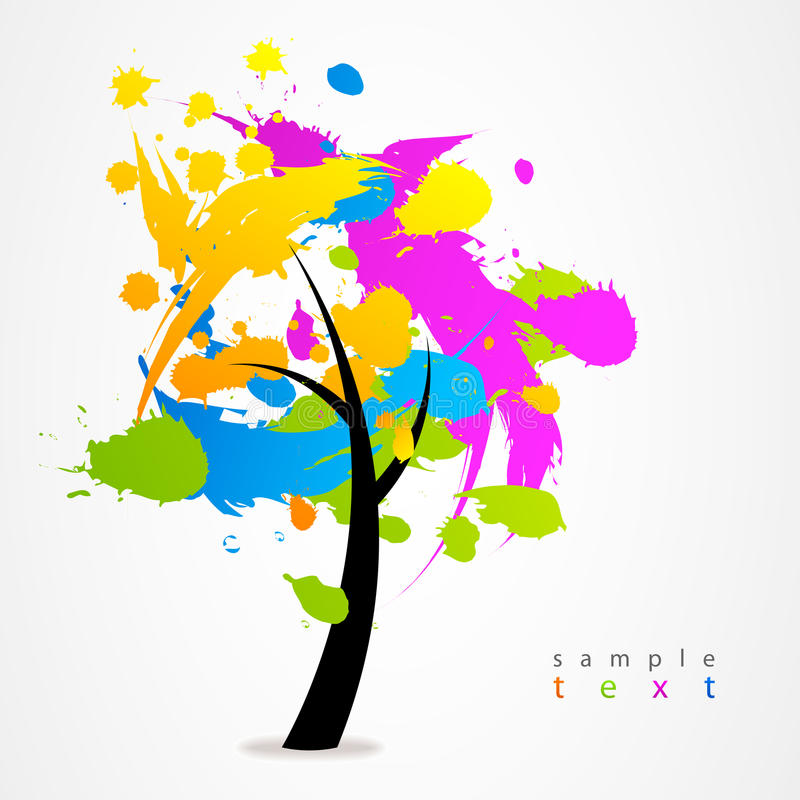 Web coloré d'arbre de logo d'affaires illustration stock
