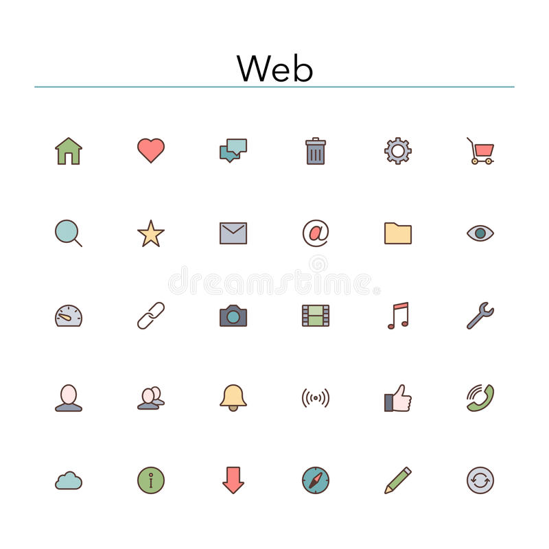 Web Colored Line Icons stock illustration